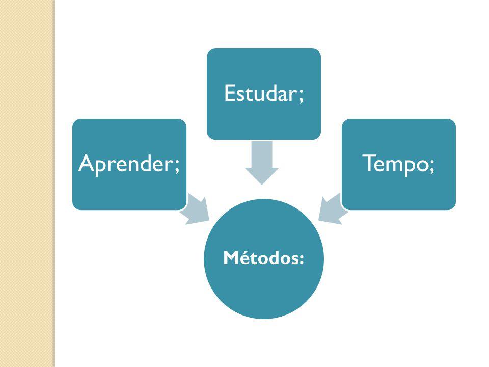 Métodos: Aprender; Estudar; Tempo;