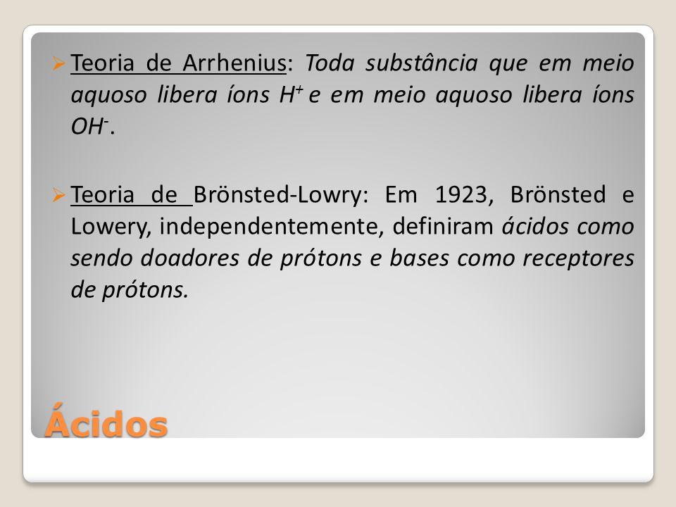 Teoria de Arrhenius: Toda substância que em meio aquoso libera íons H+ e em meio aquoso libera íons OH-.