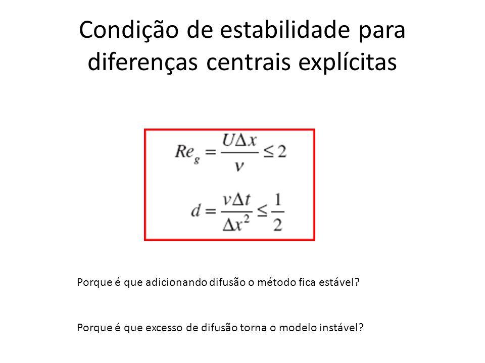 Condição de estabilidade para diferenças centrais explícitas