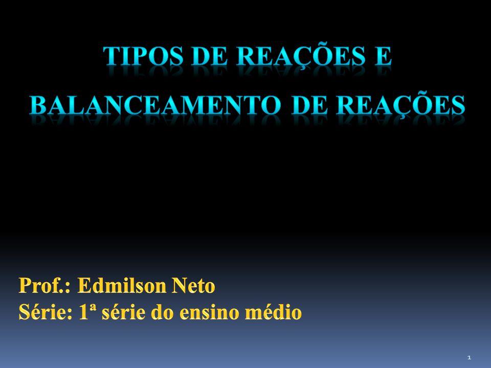 TIPOS DE REAÇÕES E BALANCEAMENTO DE REAÇÕES
