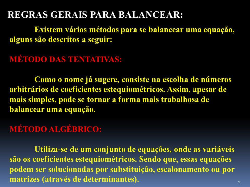 REGRAS GERAIS PARA BALANCEAR: