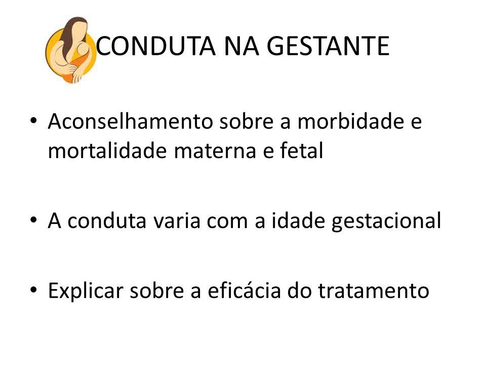 CONDUTA NA GESTANTE Aconselhamento sobre a morbidade e mortalidade materna e fetal. A conduta varia com a idade gestacional.