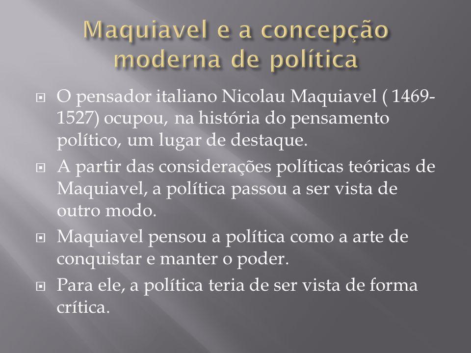 Maquiavel e a concepção moderna de política