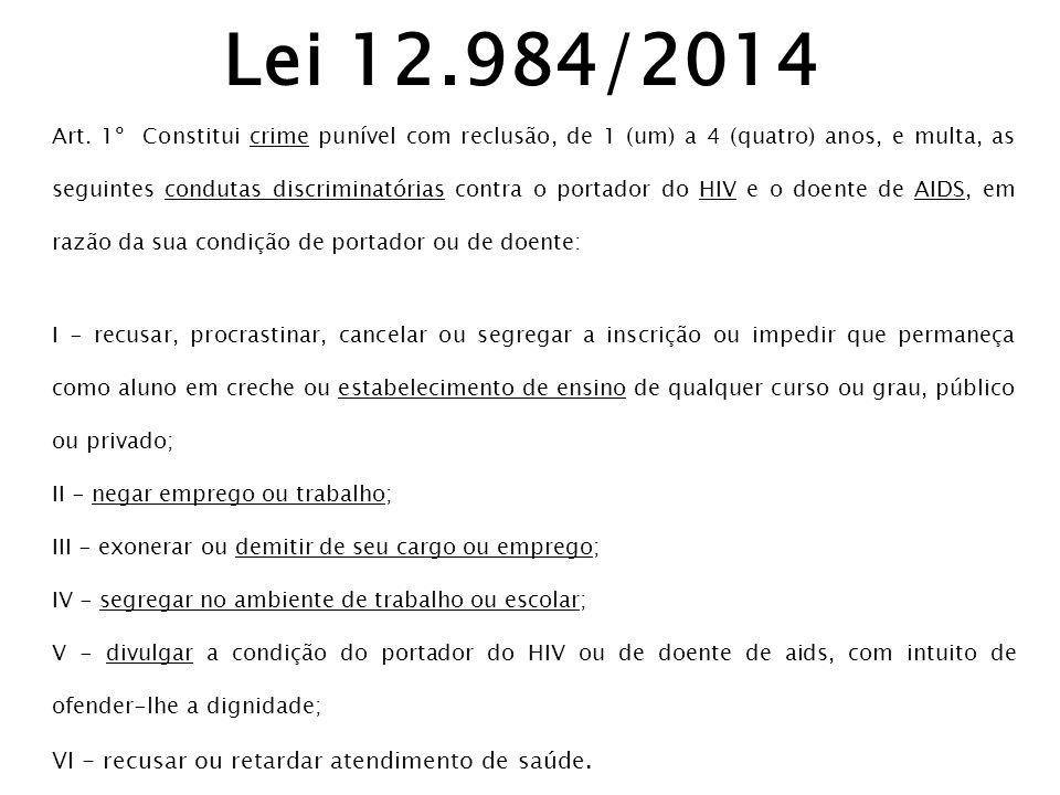 Lei 12.984/2014 VI - recusar ou retardar atendimento de saúde.