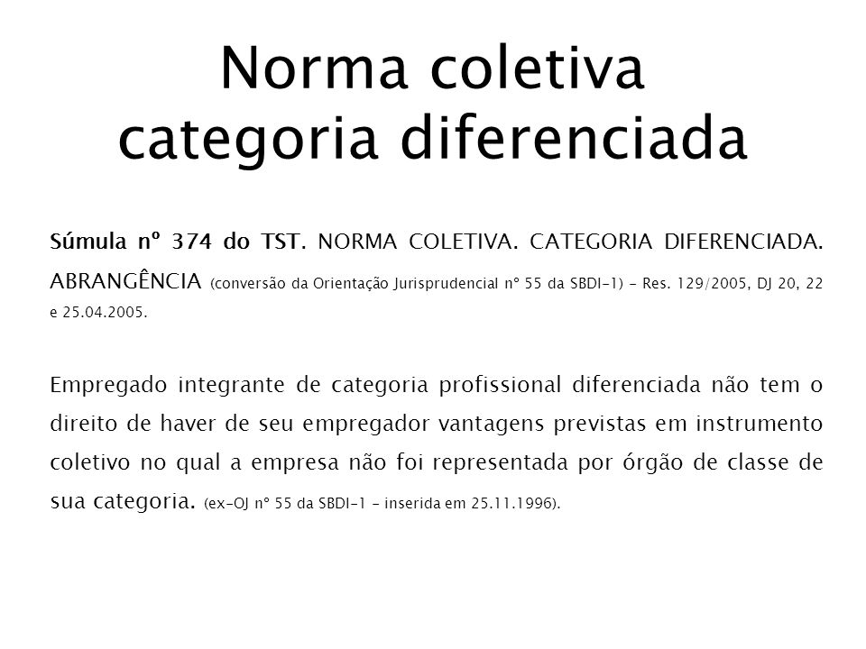 Norma coletiva categoria diferenciada