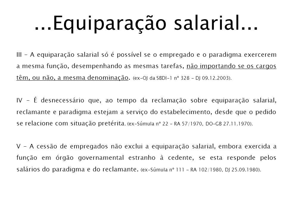 ...Equiparação salarial...