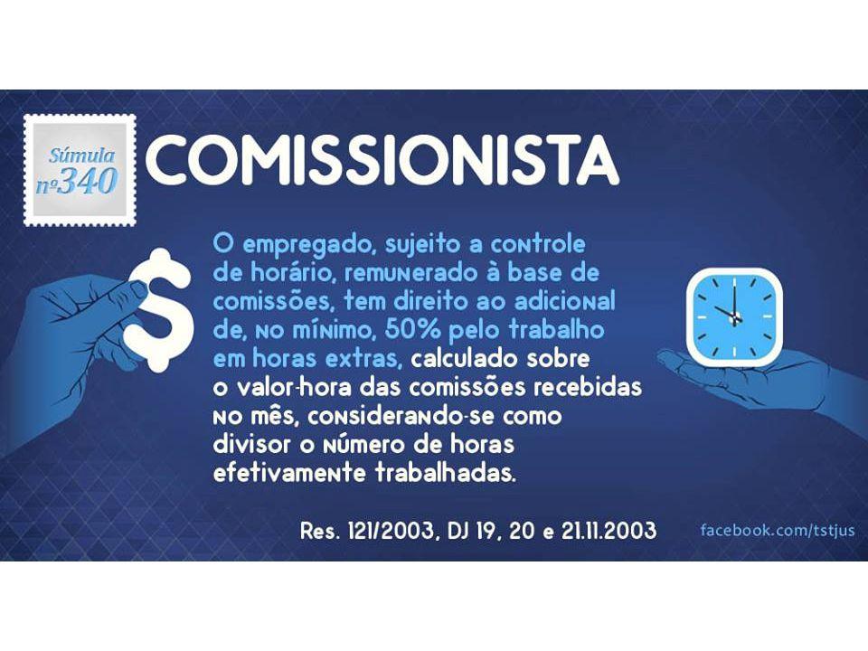 Res. 40/1995, DJ 17.02.1995 - Nova redação - Res. 121/2003, DJ 21.11.2003. Comissionista. Horas Extras.