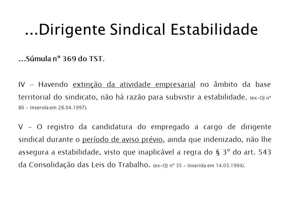 ...Dirigente Sindical Estabilidade