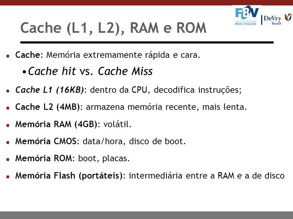 Cache (L1, L2), RAM e ROM Cache hit vs. Cache Miss