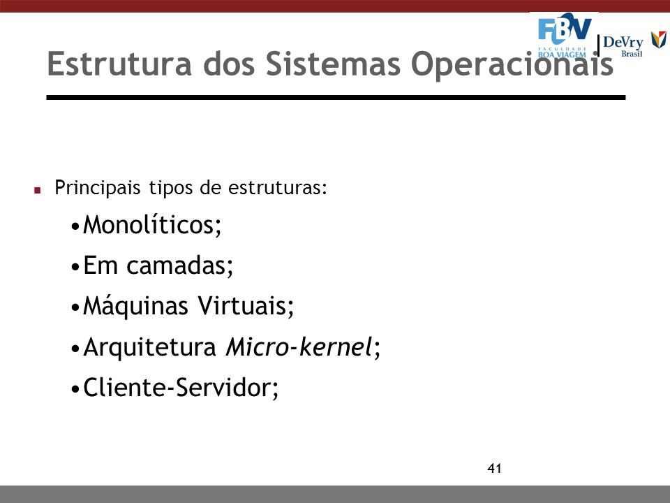 Estrutura dos Sistemas Operacionais