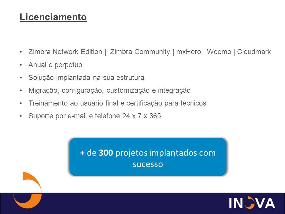 + de 300 projetos implantados com sucesso