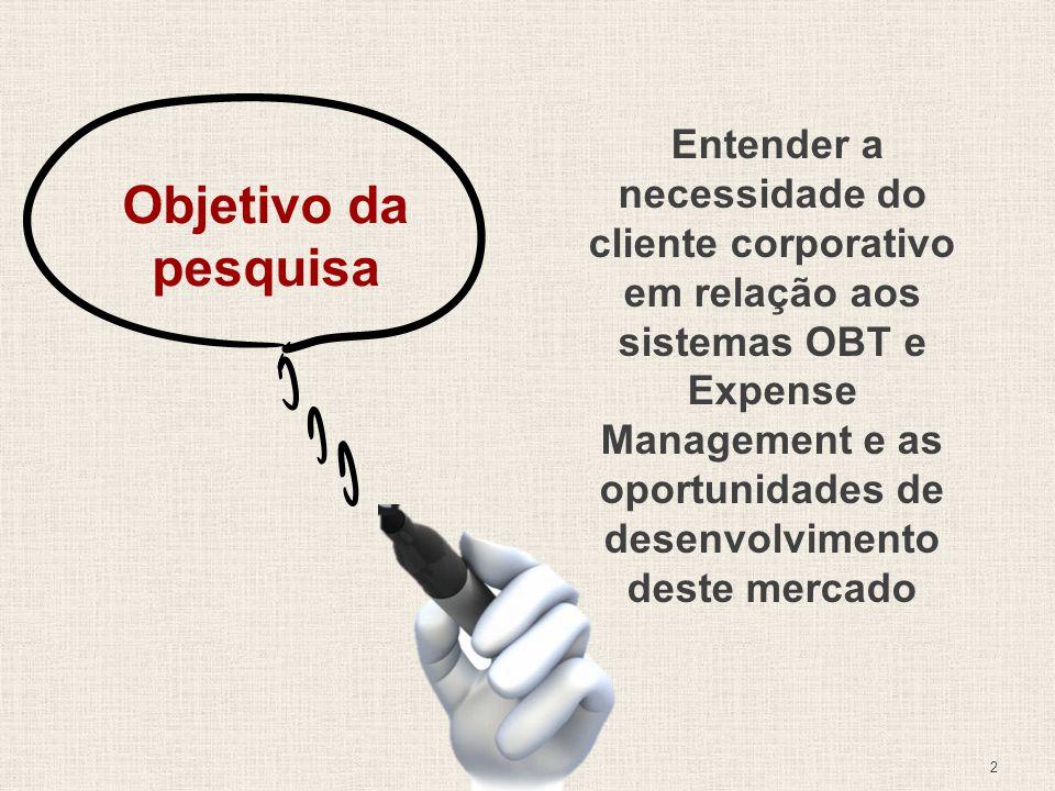 Entender a necessidade do cliente corporativo em relação aos sistemas OBT e Expense Management e as oportunidades de desenvolvimento deste mercado
