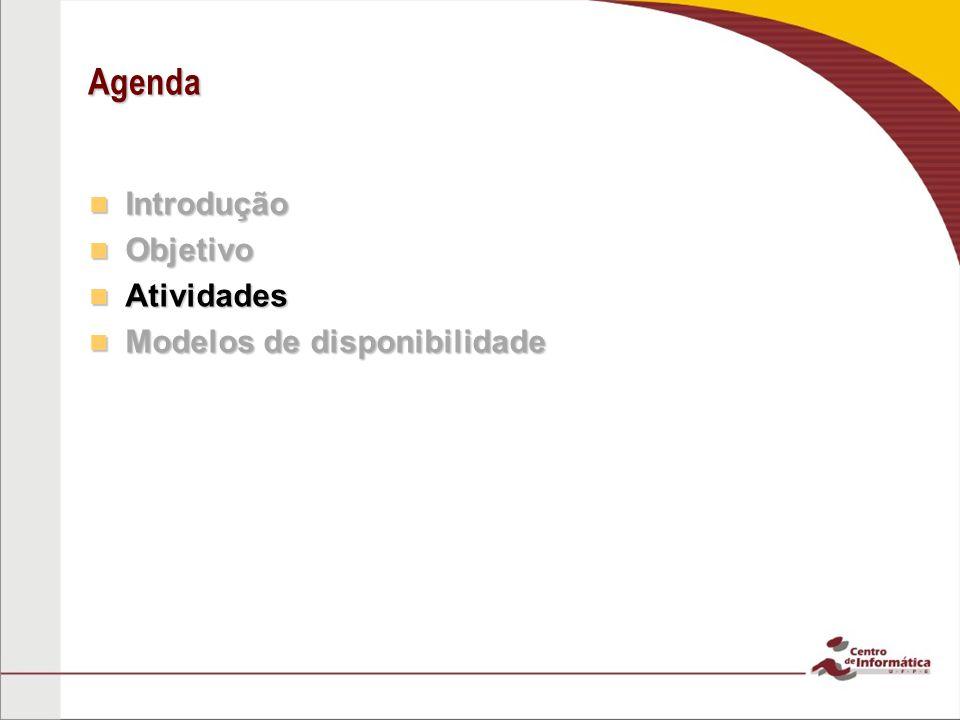 Agenda Introdução Objetivo Atividades Modelos de disponibilidade