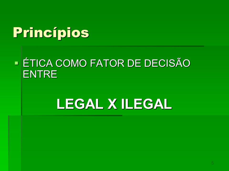 Princípios ÉTICA COMO FATOR DE DECISÃO ENTRE LEGAL X ILEGAL 5