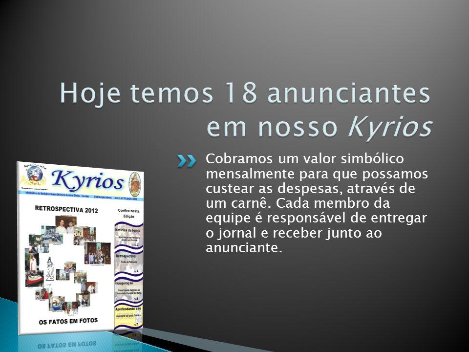 Hoje temos 18 anunciantes em nosso Kyrios