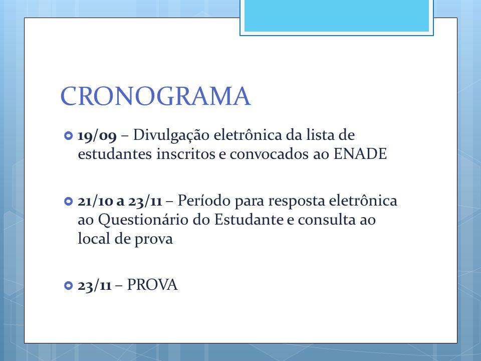 CRONOGRAMA 19/09 – Divulgação eletrônica da lista de estudantes inscritos e convocados ao ENADE.