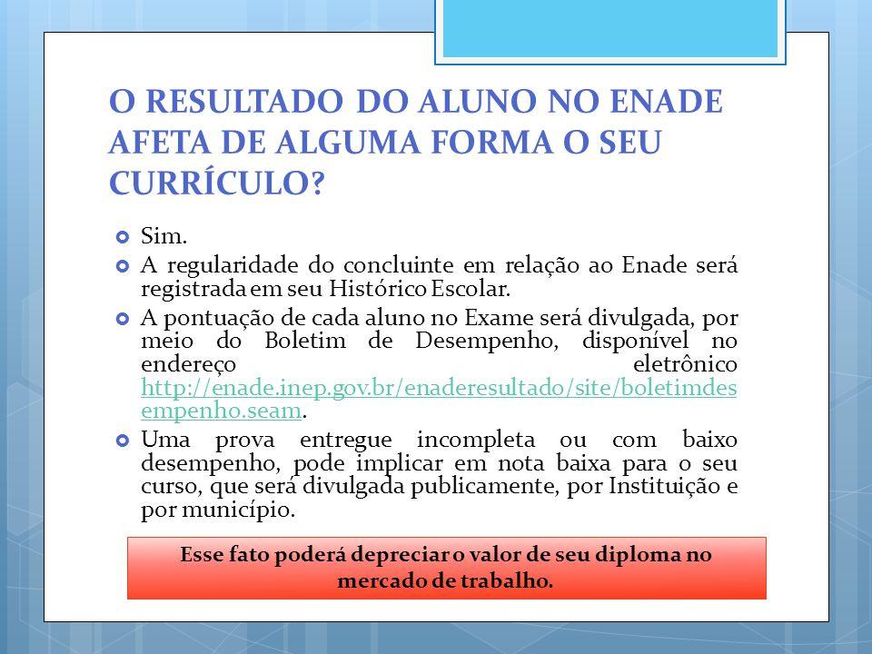 O RESULTADO DO ALUNO NO ENADE AFETA DE ALGUMA FORMA O SEU CURRÍCULO