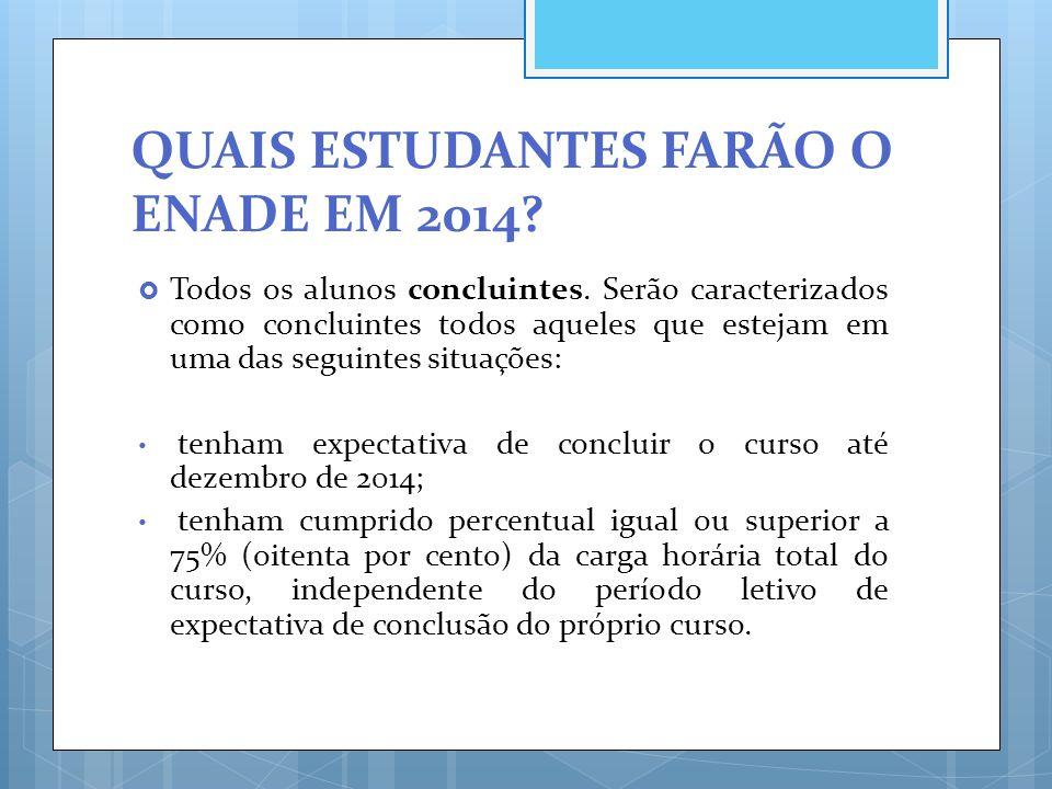 QUAIS ESTUDANTES FARÃO O ENADE EM 2014