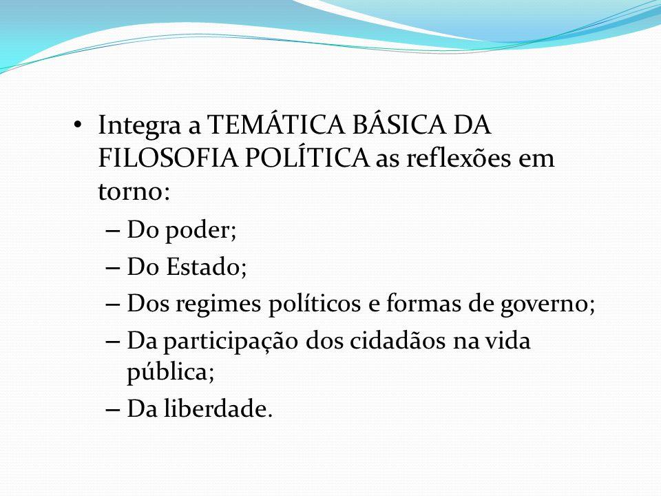 Integra a TEMÁTICA BÁSICA DA FILOSOFIA POLÍTICA as reflexões em torno: