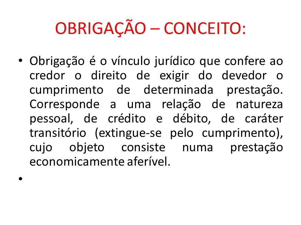 OBRIGAÇÃO – CONCEITO: