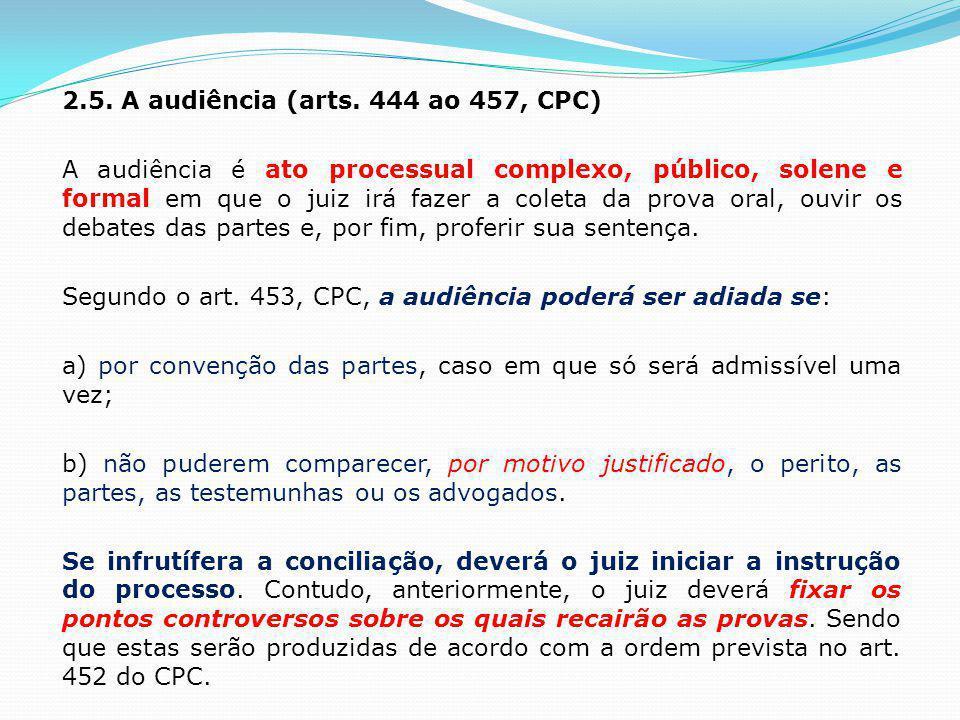 2.5. A audiência (arts.