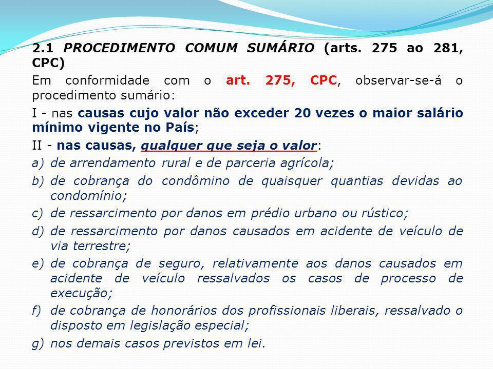 2.1 PROCEDIMENTO COMUM SUMÁRIO (arts. 275 ao 281, CPC)