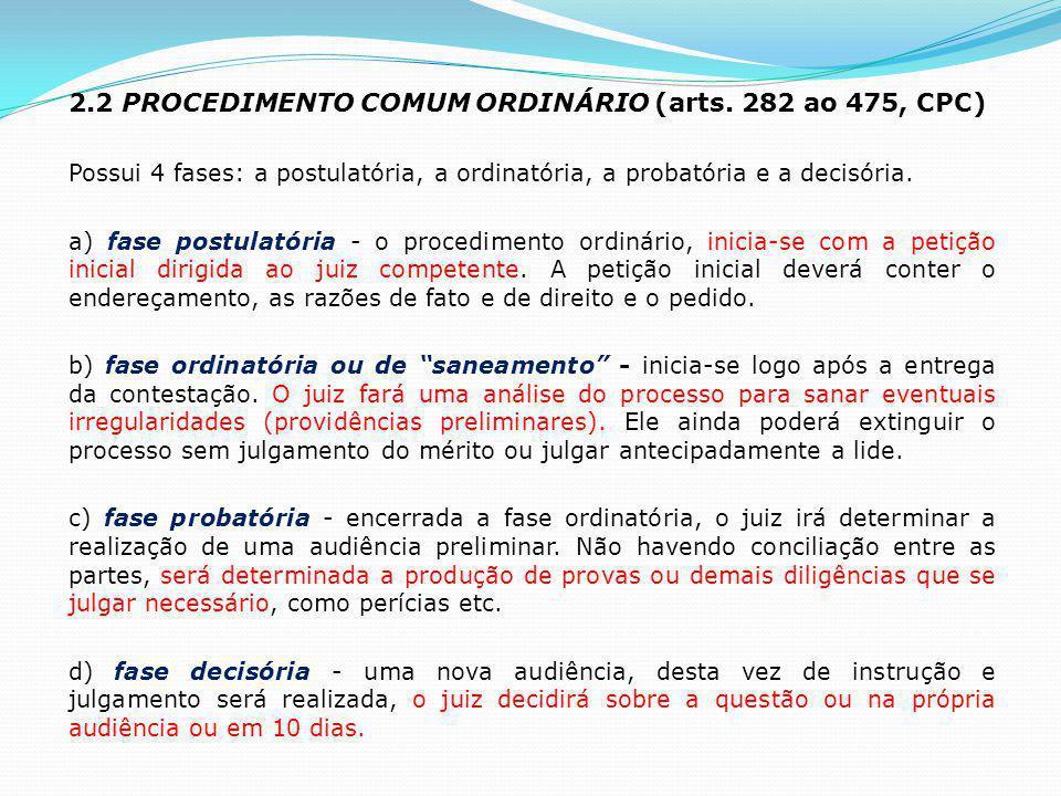 2.2 PROCEDIMENTO COMUM ORDINÁRIO (arts. 282 ao 475, CPC)
