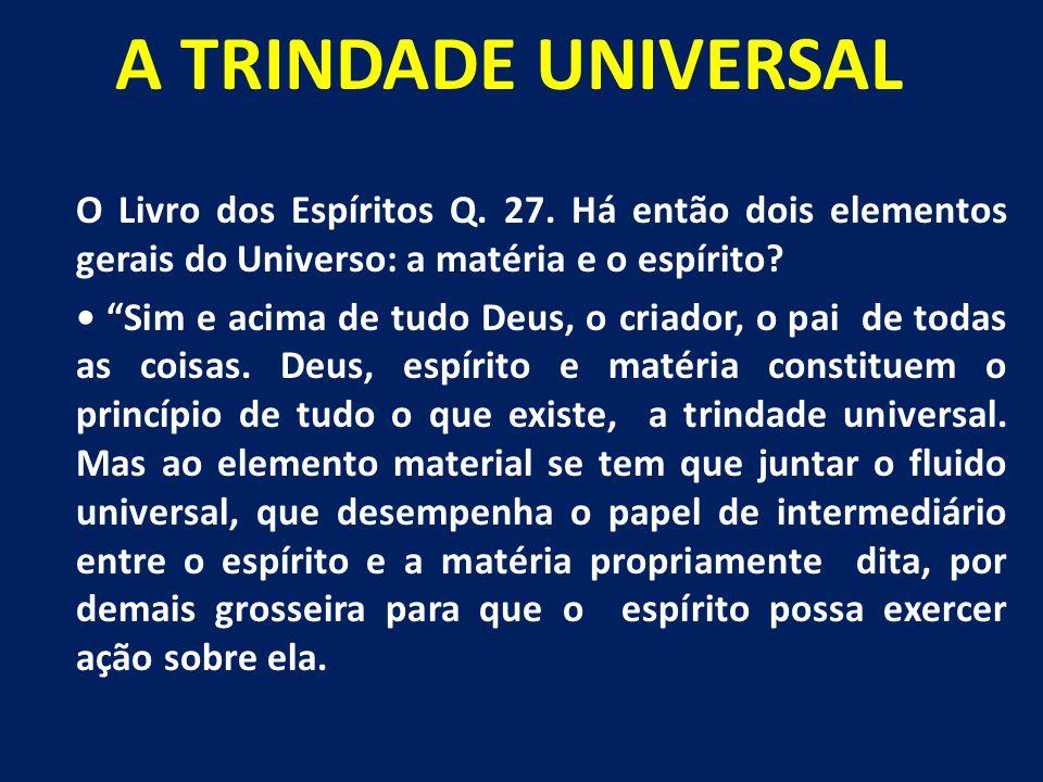 A TRINDADE UNIVERSAL O Livro dos Espíritos Q. 27. Há então dois elementos gerais do Universo: a matéria e o espírito