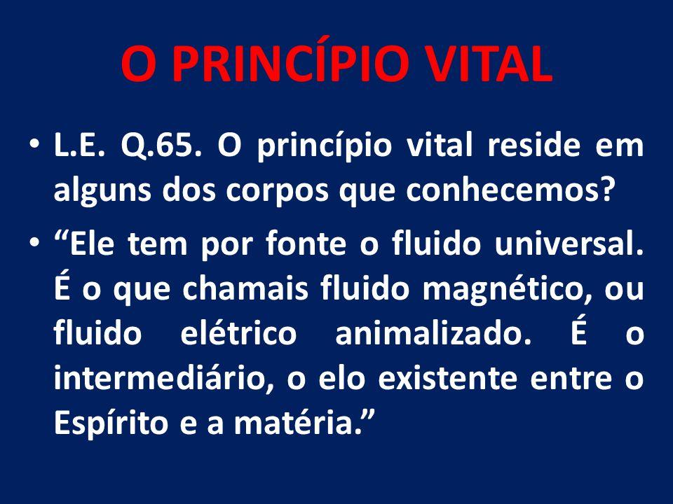O PRINCÍPIO VITAL L.E. Q.65. O princípio vital reside em alguns dos corpos que conhecemos
