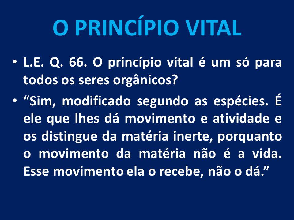O PRINCÍPIO VITAL L.E. Q. 66. O princípio vital é um só para todos os seres orgânicos