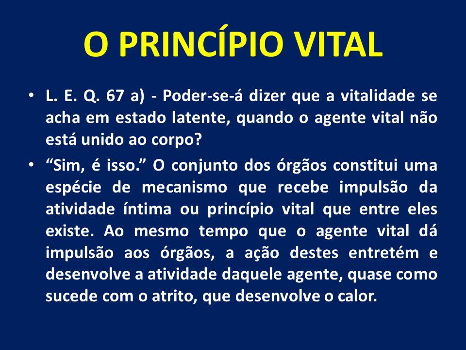 O PRINCÍPIO VITAL L. E. Q. 67 a) - Poder-se-á dizer que a vitalidade se acha em estado latente, quando o agente vital não está unido ao corpo