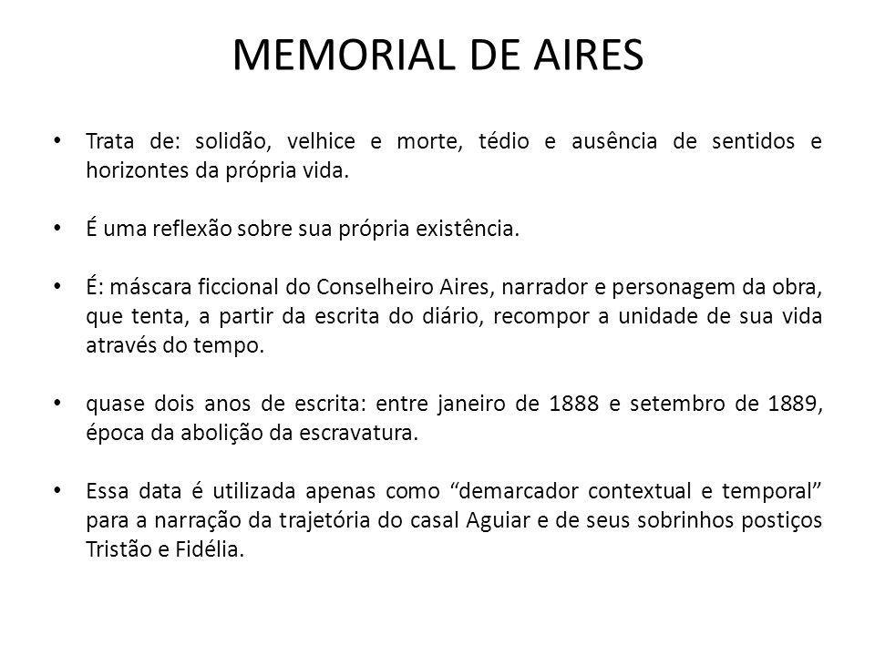 MEMORIAL DE AIRES Trata de: solidão, velhice e morte, tédio e ausência de sentidos e horizontes da própria vida.