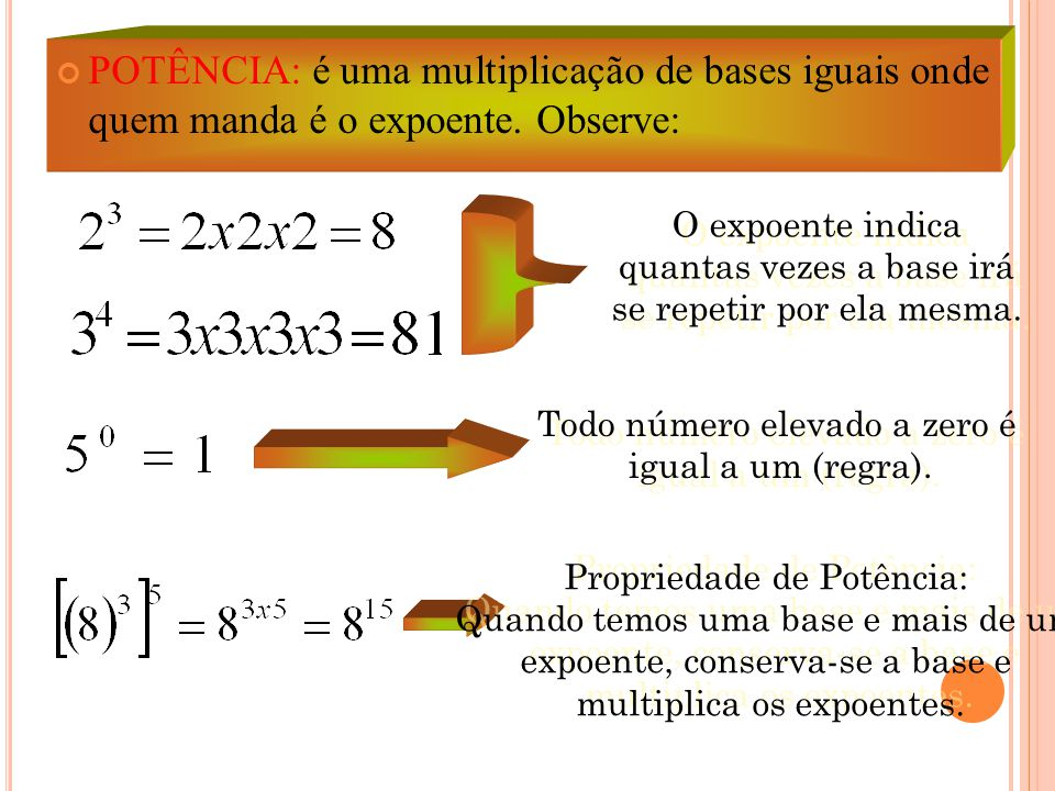 POTÊNCIA: é uma multiplicação de bases iguais onde quem manda é o expoente. Observe: