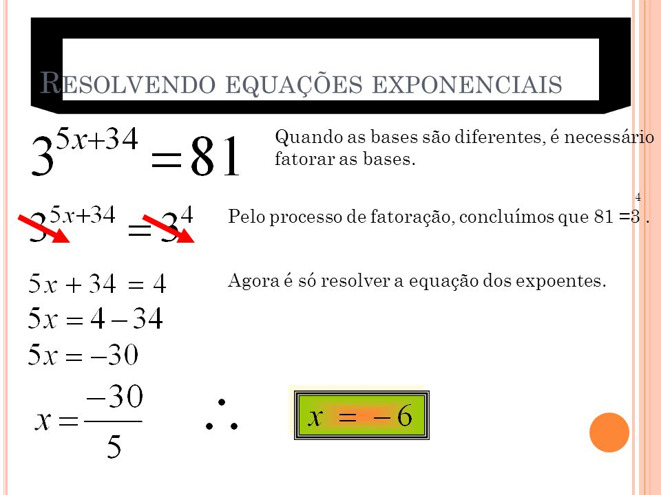 Resolvendo equações exponenciais