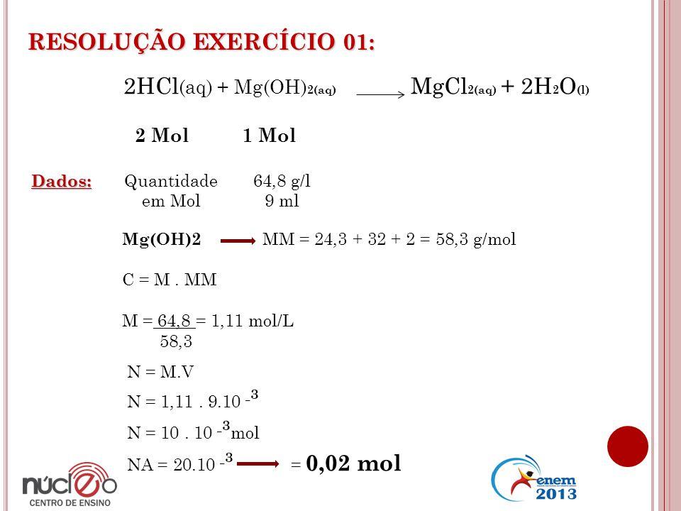 2HCl(aq) + Mg(OH)2(aq) MgCl2(aq) + 2H2O(l)
