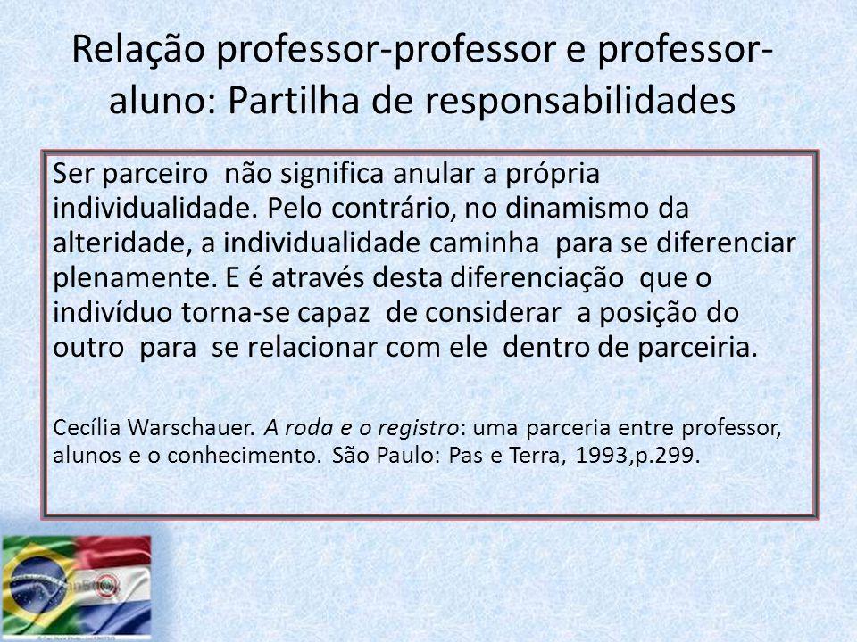 Relação professor-professor e professor- aluno: Partilha de responsabilidades