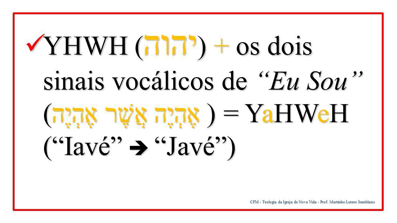 YHWH (יהוה) + os dois sinais vocálicos de Eu Sou (אֶהְיֶה אֲשֶׁר אֶהְיֶה) = YaHWeH ( Iavé  Javé )