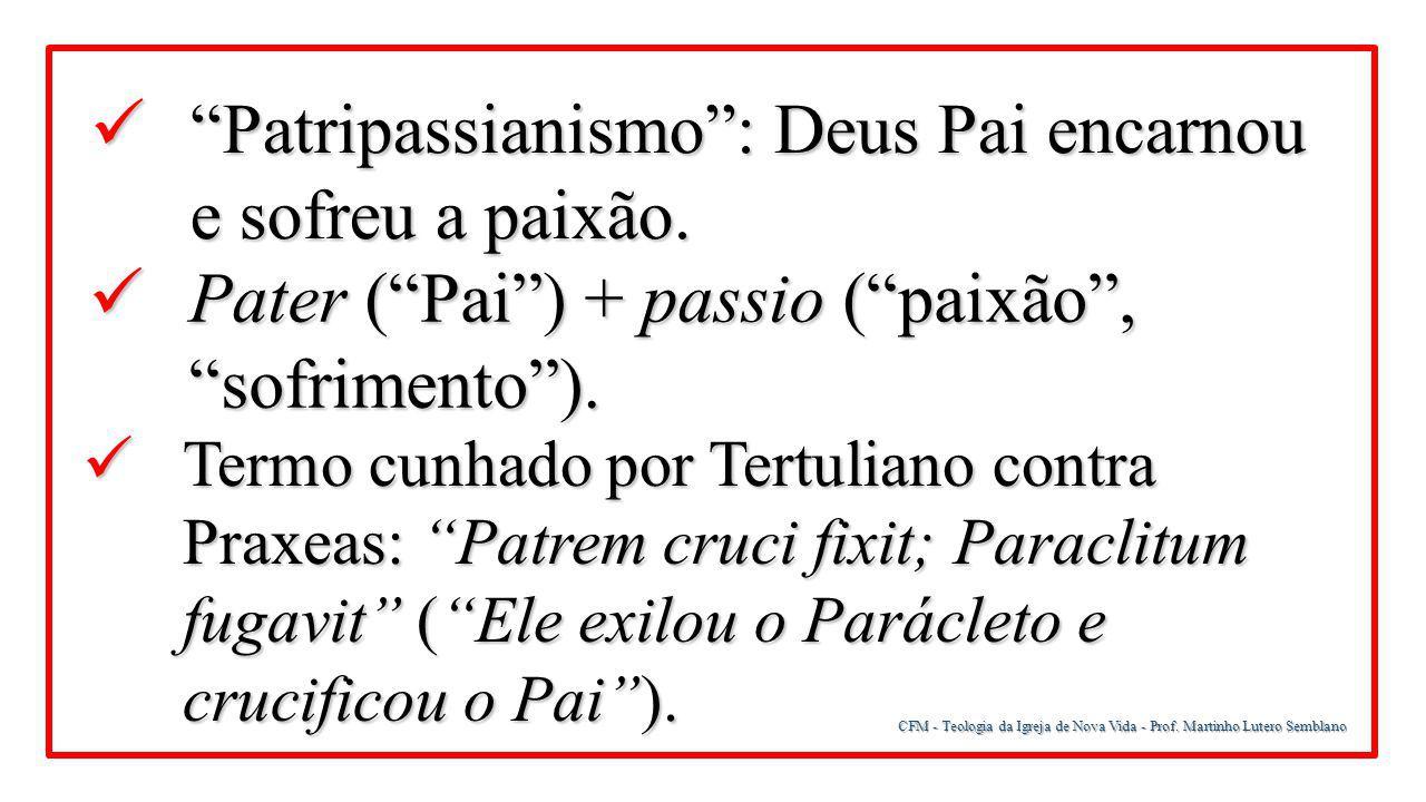 Patripassianismo : Deus Pai encarnou e sofreu a paixão.