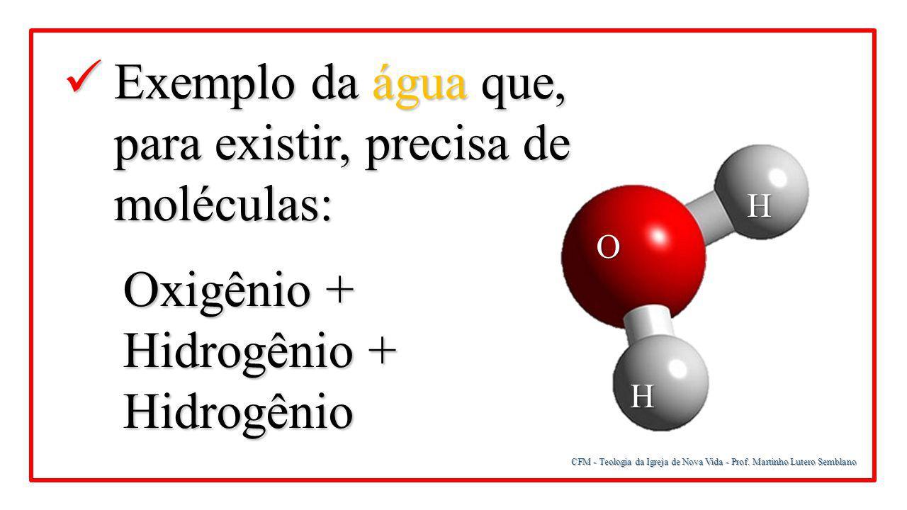 Exemplo da água que, para existir, precisa de moléculas: