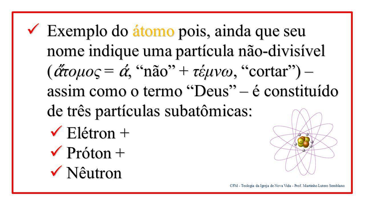 Exemplo do átomo pois, ainda que seu nome indique uma partícula não-divisível (ἄτομος = ἀ, não + τέμνω, cortar ) – assim como o termo Deus – é constituído de três partículas subatômicas: