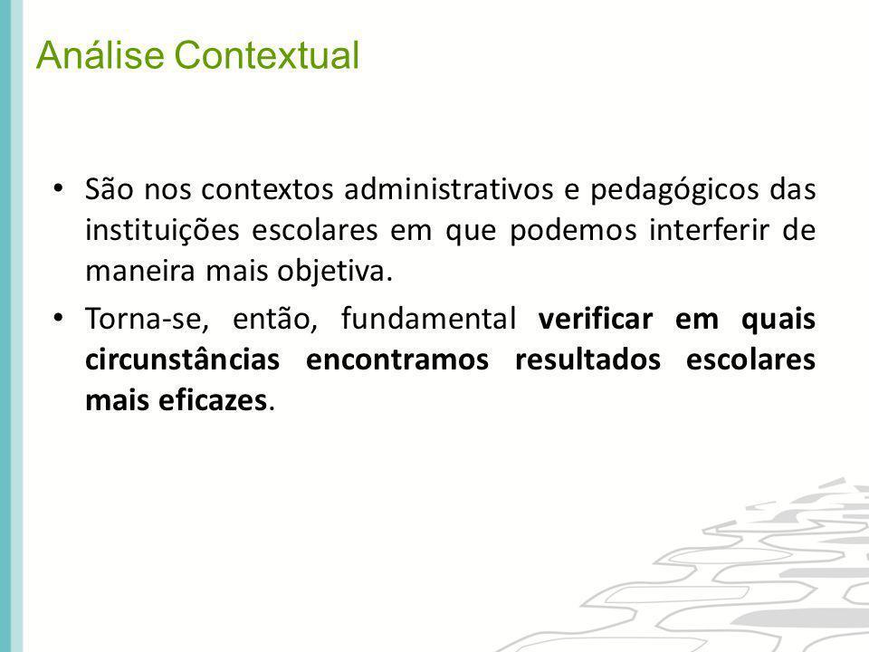 Análise Contextual São nos contextos administrativos e pedagógicos das instituições escolares em que podemos interferir de maneira mais objetiva.