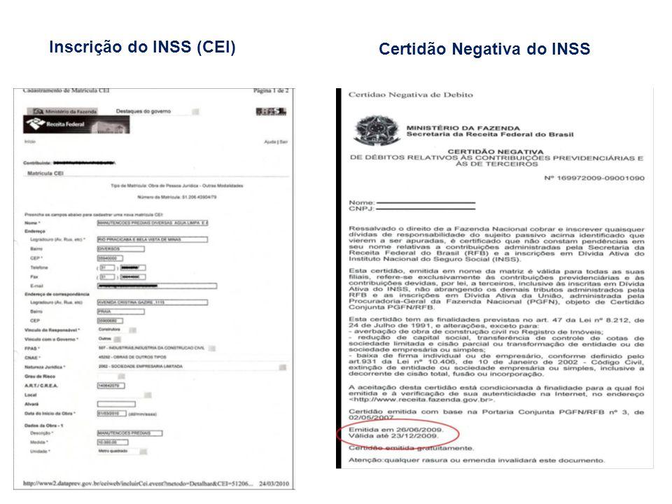 Inscrição do INSS (CEI)
