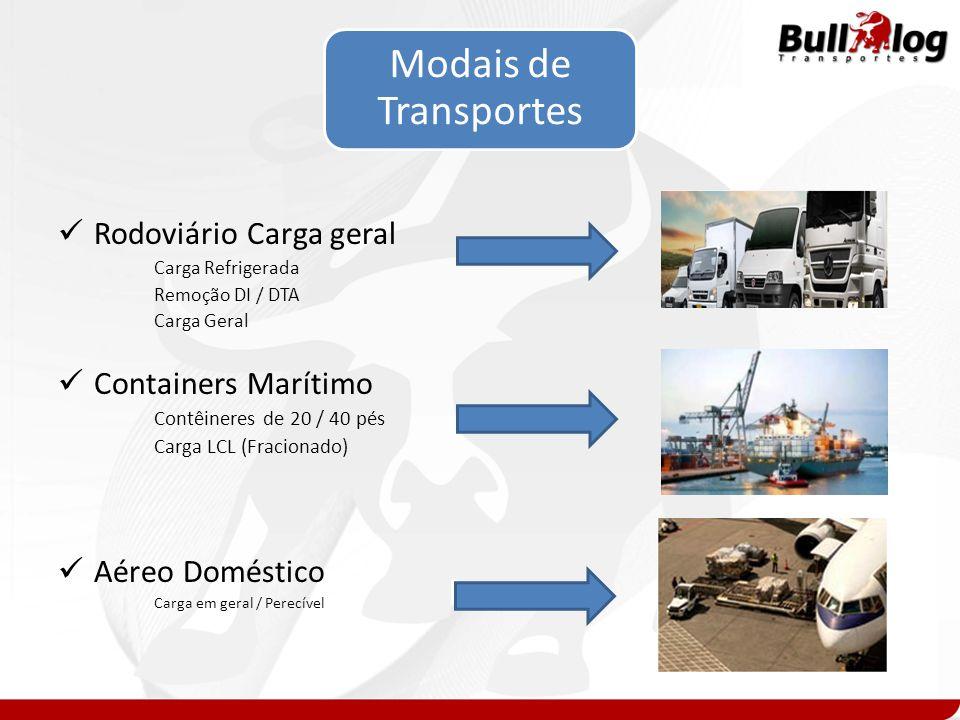 Modais de Transportes Rodoviário Carga geral Containers Marítimo
