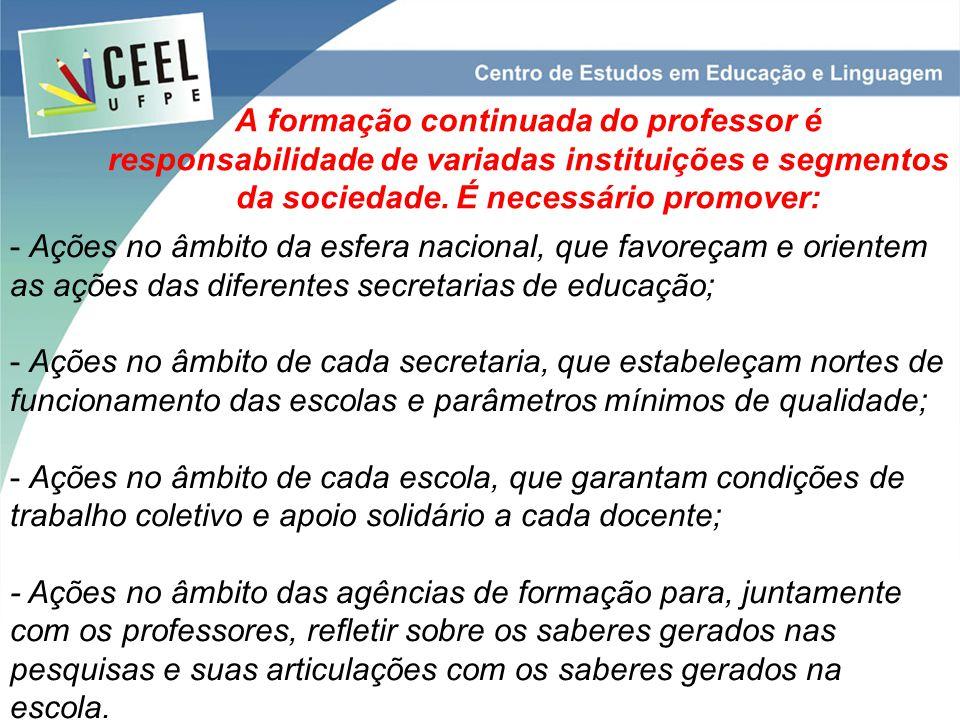 A formação continuada do professor é responsabilidade de variadas instituições e segmentos da sociedade. É necessário promover: