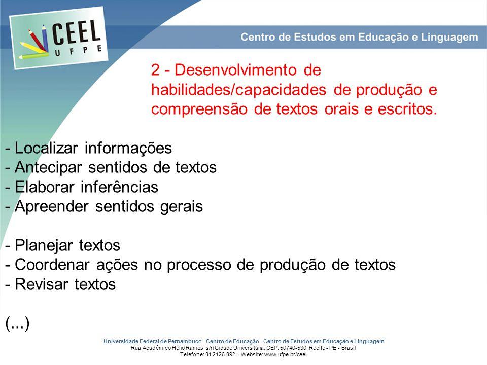 2 - Desenvolvimento de. habilidades/capacidades de produção e
