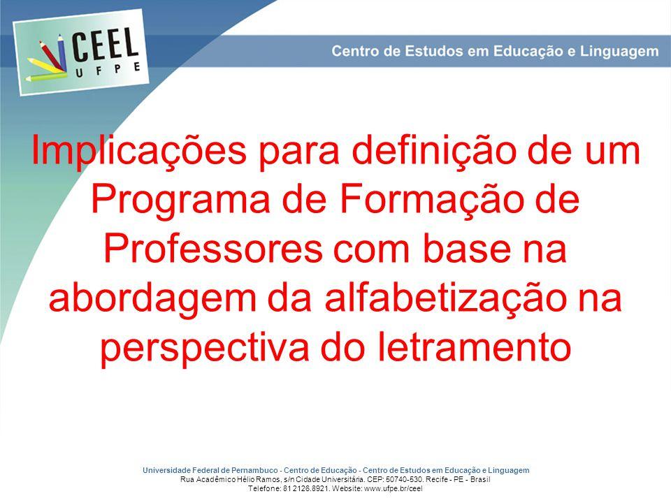 Implicações para definição de um Programa de Formação de Professores com base na abordagem da alfabetização na perspectiva do letramento
