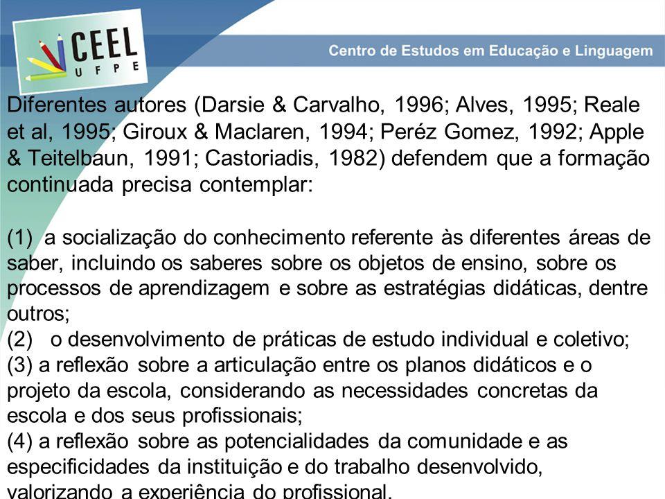 Diferentes autores (Darsie & Carvalho, 1996; Alves, 1995; Reale et al, 1995; Giroux & Maclaren, 1994; Peréz Gomez, 1992; Apple & Teitelbaun, 1991; Castoriadis, 1982) defendem que a formação continuada precisa contemplar: (1) a socialização do conhecimento referente às diferentes áreas de saber, incluindo os saberes sobre os objetos de ensino, sobre os processos de aprendizagem e sobre as estratégias didáticas, dentre outros; (2) o desenvolvimento de práticas de estudo individual e coletivo; (3) a reflexão sobre a articulação entre os planos didáticos e o projeto da escola, considerando as necessidades concretas da escola e dos seus profissionais; (4) a reflexão sobre as potencialidades da comunidade e as especificidades da instituição e do trabalho desenvolvido, valorizando a experiência do profissional.