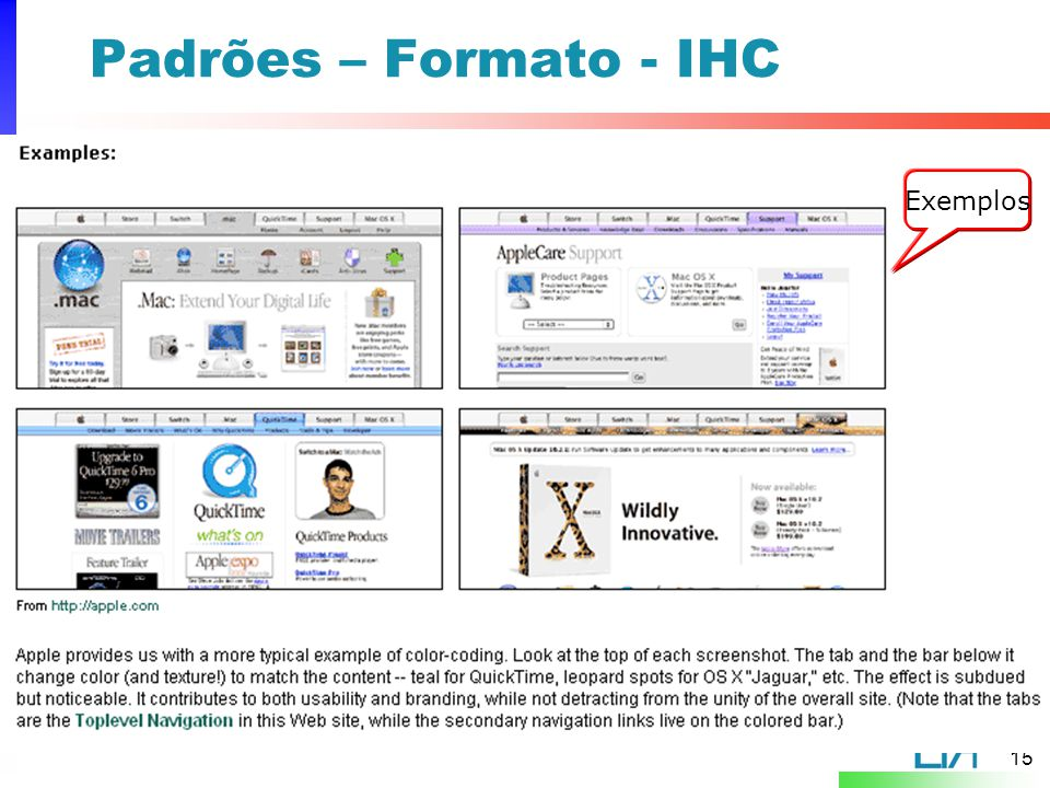 Padrões – Formato - IHC Exemplos
