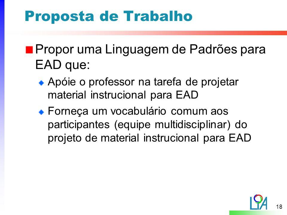 Proposta de Trabalho Propor uma Linguagem de Padrões para EAD que: