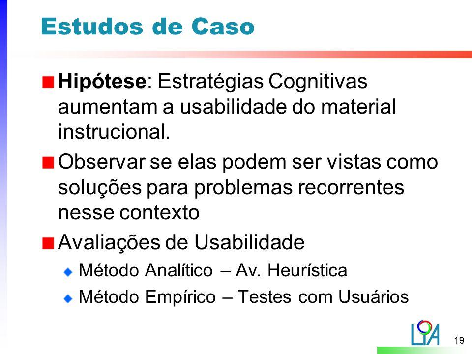 Estudos de Caso Hipótese: Estratégias Cognitivas aumentam a usabilidade do material instrucional.
